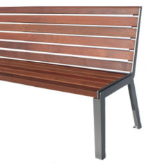 Outdoor park bench made of ipe wood