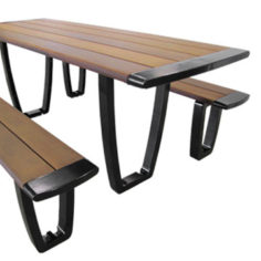 Aluminum and wood outdoor picnic tables
