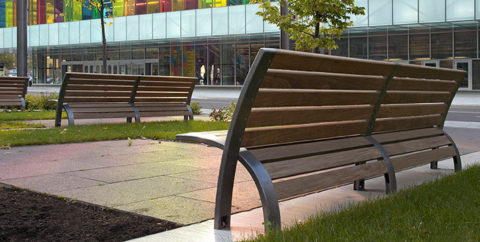 Outdoor park benches